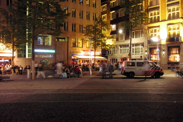 A cafe in Amsterdam on Saturday night around midnight.